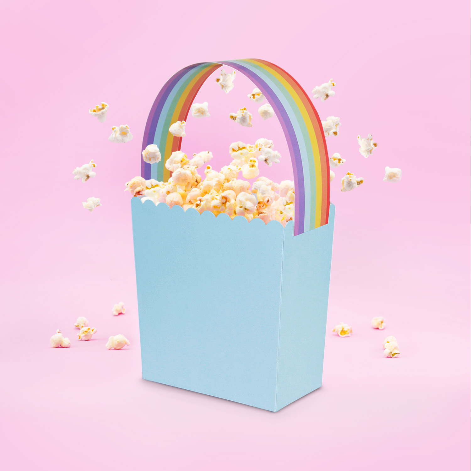 Surprise Snacks and Gifts Basket with Rainbow Handle